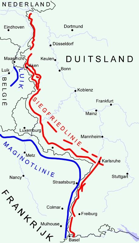 Maginotlinie (blauw) versus Siegriedlinie (rood).