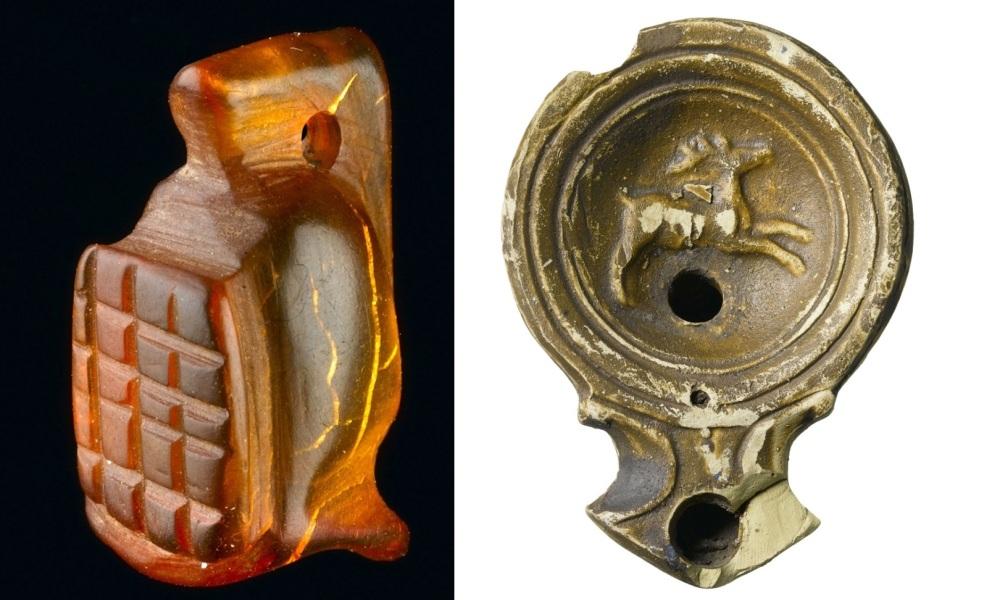 Links: amulet in de vorm van een gladiatorenhelm, rechts een keramische olielamp. Beide gevonden op Bloomsburg's Place in het centrum van Londen. (Foto's: Museum of London Archeology)