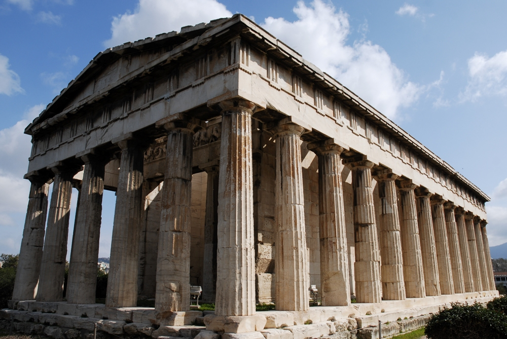 Facade van het Parthenon. De zuilen zijn op eenderde van hun hoogte 2 cm. dikker en hellen iets naar binnen voor een optisch effect.