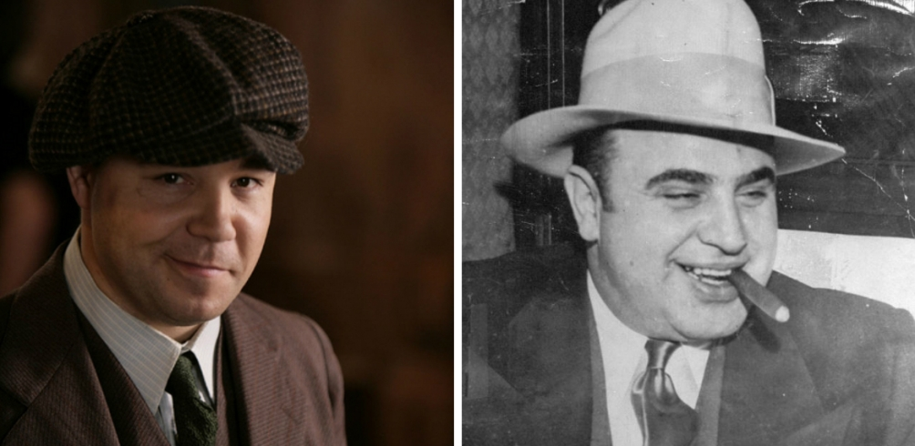 Links: Stephan Graham alias Al Capone, rechts: Alphonse Capone (foto's: HBO en onbekend)