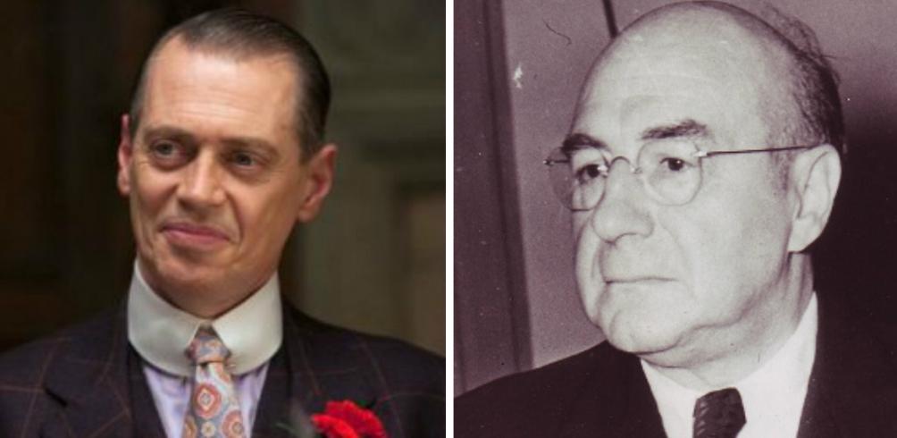 Links: 'Nucky' Thompson (Steve Buscemi), rechts: Enoch Lewis 'Nucky' Johnson. (foto: HBO en Wikimedia)