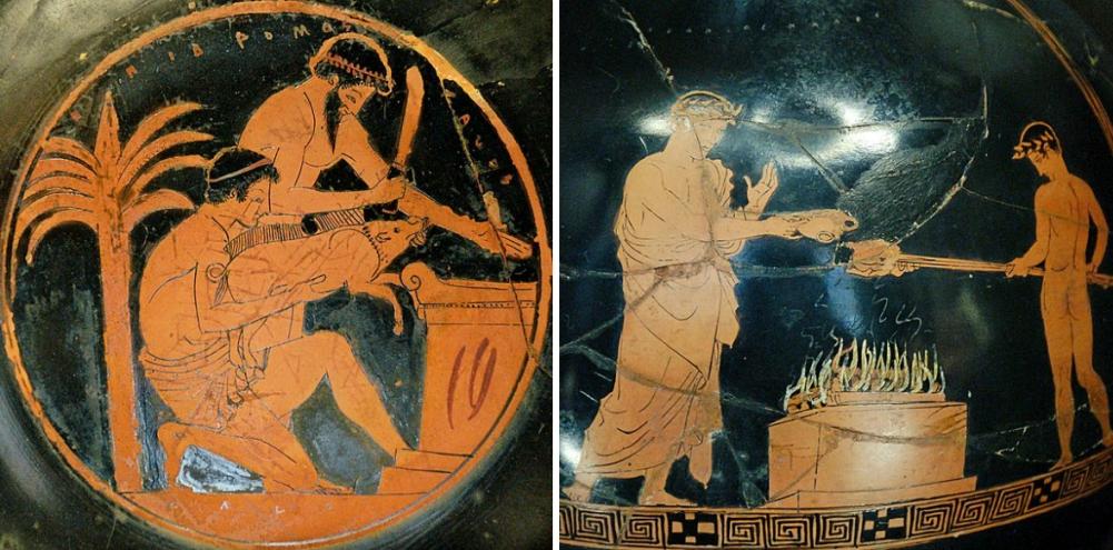 Details van Grieks en Romeins aardewerk uit de 4e/5e eeuw v.Chr., waarop het slachten van dieren en het bereiden van vlees te zien is.