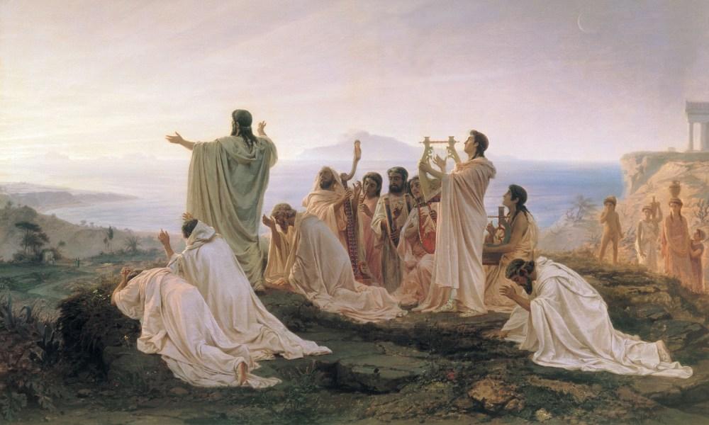 'Heidense' aanbidding van de zonsopkomst. Een werk uit 1869 van de Russische schilder Fyodor Bronnikov.