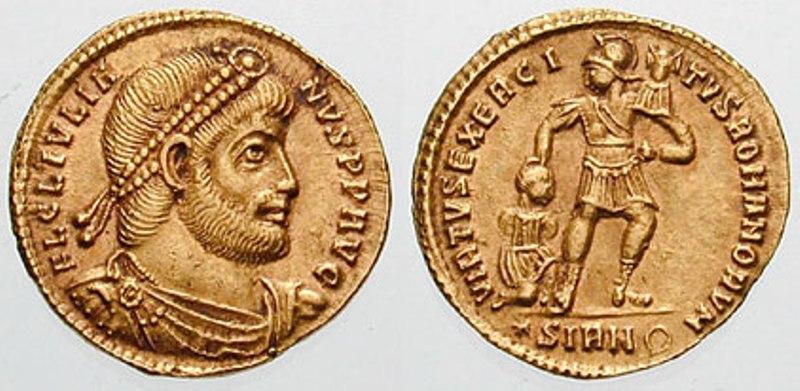 Julianus op een gouden solidus geslagen in Sirmium.