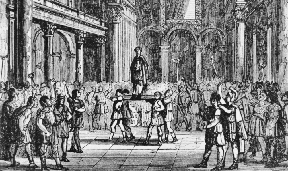 19e eeuwse afbeelding van Julianus die tot keizer wordt uitgeroepen bij de Thermen van Cluny te Parijs, in februari 360.