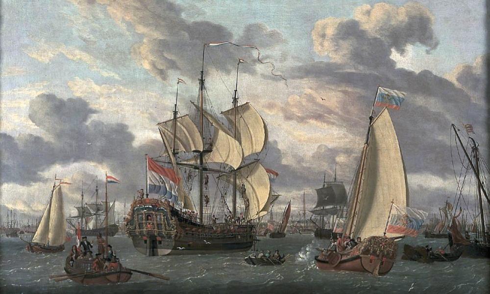 Tsaar Peter de Grote is op weg naar het schip 'Peter en Paul' (tussen 1698 en 1708). (foto: Wikimedia)