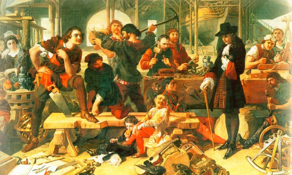 Tsaar Peter incognito op een Hollandse scheepswerf door een onbekende schilder (foto: Wikimedia)