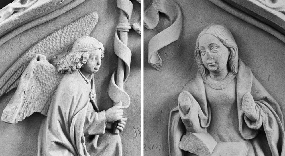 Twee details van het middeleeuwse beeldbouwwerk op het priestergestoelte van het klooster in Ter Apel. (foto's: Wikimedia)