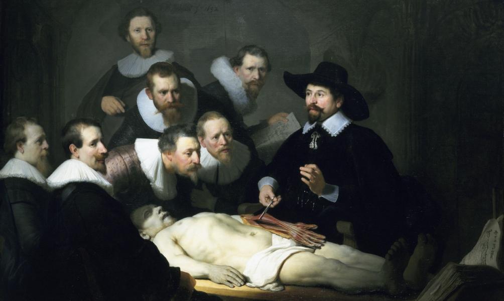 De anatomische les van Dr. Nicolaes Tulp, door Rembrandt uit 1636 (collectie Mauritshuis).