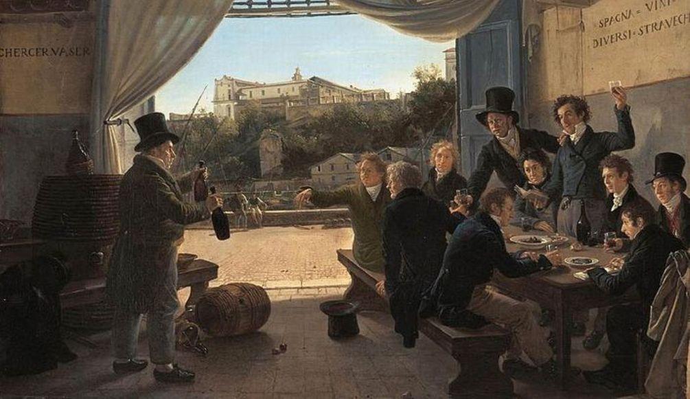 Op dit schilderij van Franz Ludwig Catel, Kroonprins Ludwig in een taveerne in Rome (1824), zien we de afscheidsborrel van de kroonprins.