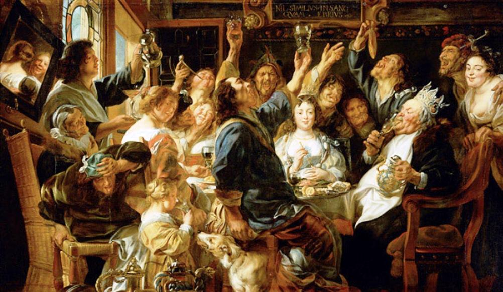 Wie de Bonenkoning is, kan de rest van het gezelschap laten drinken (Jacob Jordaens, De Bonenkoning, ca. 1655, foto: Wikimedia).