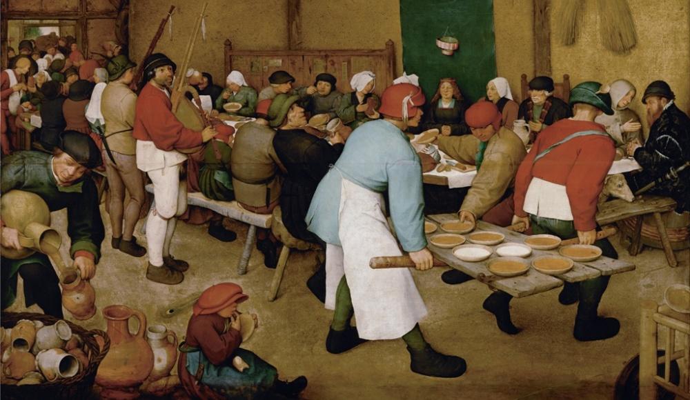 Op het schilderij van Pieter Bruegel de Oude, Boerenbruiloft (ca. 1568), zien we de boerse gulzigheid (foto: Wikimedia).