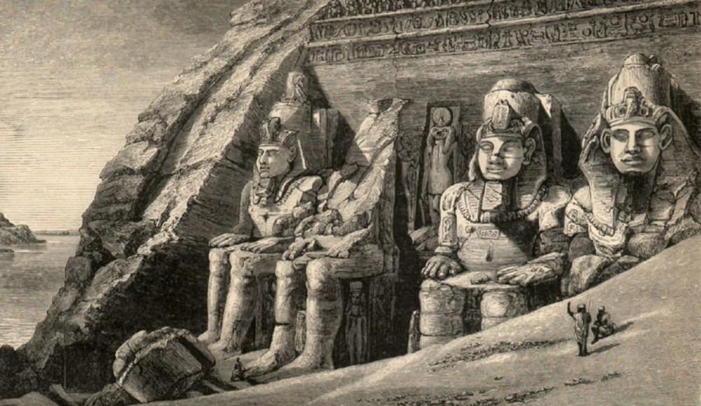 Façade van de tempel van Ramses II in Abu Simbel. Getekend door Amelia Edwards in 1870 (Foto: wikimedia).