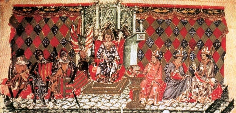 Detail van een bladzijde uit de Leges Palatinae, het nieuwe wetboek van Jaime III die in het midden is afgebeeld op de troon.