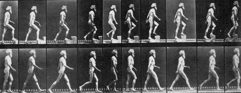 De (zelf)portretten van Eadweard Muybridge konden dankzij de korte sluitertijd beweging in beeld brengen (foto: Wikimedia).
