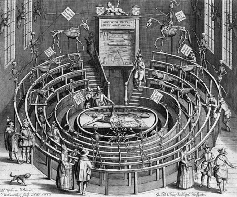 Het Leids anatomisch theater (of Theatrum Anatomicum), begin van de 17e eeuw (tekening van ets van Willem Swanenburgh door Jan van 't Woudt.
