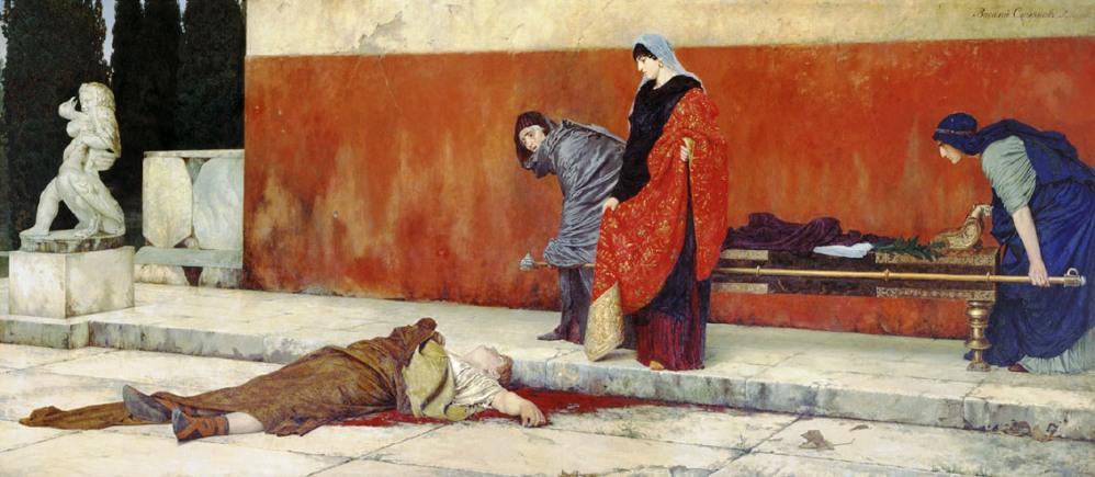 De zelfmoord van Nero, schilderij door Vasiliy Smirnov uit 1888 (foto: Wikimedia)