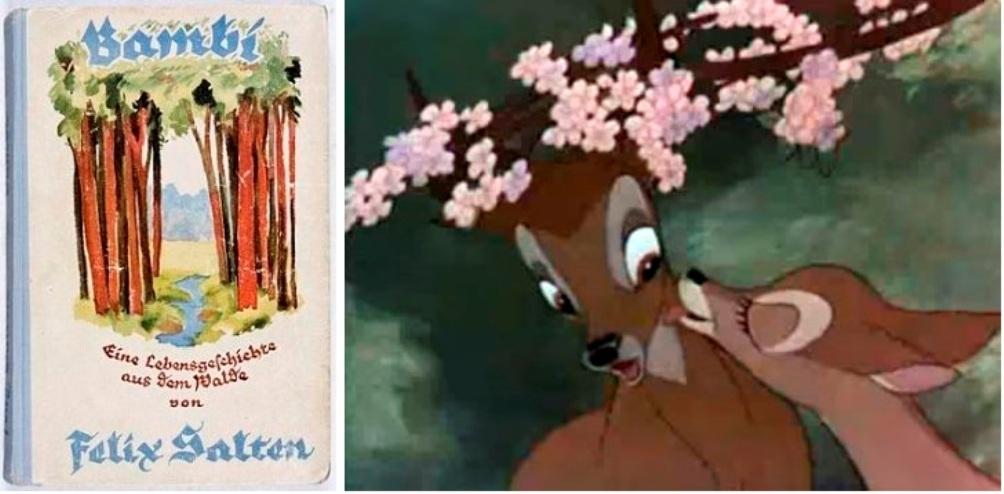 Het ontwerp van de cover van de allereerste druk van Bambi. Eine Lebensgeschichte aus dem Walde. Rechts: beeld uit de Walt Disney tekenfilm Bambi.
