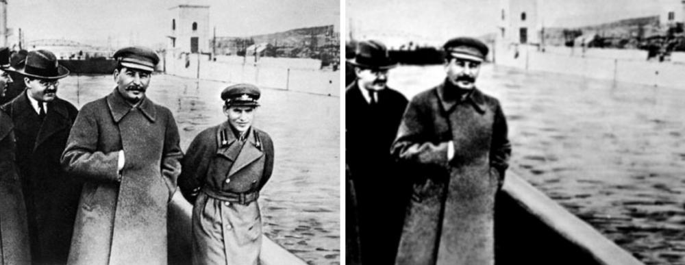 Moderne damnatio memoriae. Links is Jezjov op de oorspronkelijke foto te zien, na zijn executie werd de rechter foto gebruikt waarop hij weggeretoucheerd is. (foto: Wikimedia).