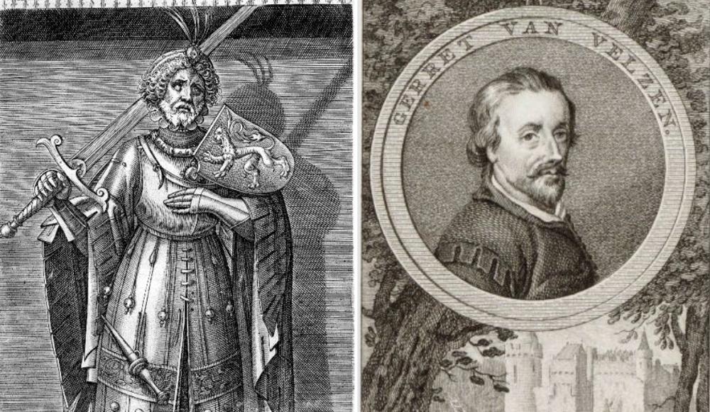 Links: Floris V, graaf van Holland en Zeeland (1254-1296). Hij stichtte het Muiderslot rond 1280.Rechts: Gerard van Velzen die Floris V vermoordde toen hij probeerde te ontsnappen uit het Muiderslot (Foto: Wikimedia)