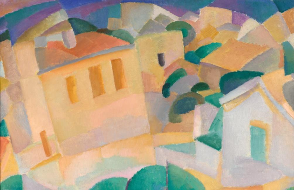 De schilderijen van Gestel uit zijn tijd op Mallorca zijn licht en vrolijk van kleur, zoals dit schilderij getiteld Mallorca Terreno uit 1914 (foto: Wikimedia).