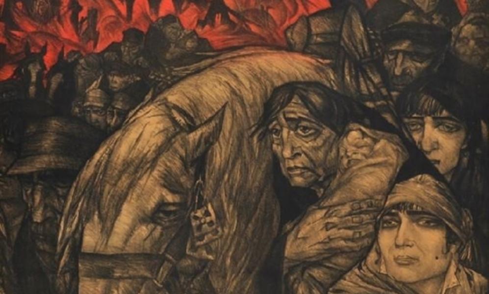 Na zijn terugkeer uit Mallorca maakte Gestel donkere, aangrijpende tekeningen waarin het leed van de Belgische vluchtelingen de hoofdrol speelde (foto: Mutual Art).