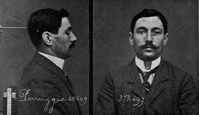 Mugshots van Vincenzo Peruggia die de Mona Lisa had gestolen. (foto: Bettmann/CORBIS)