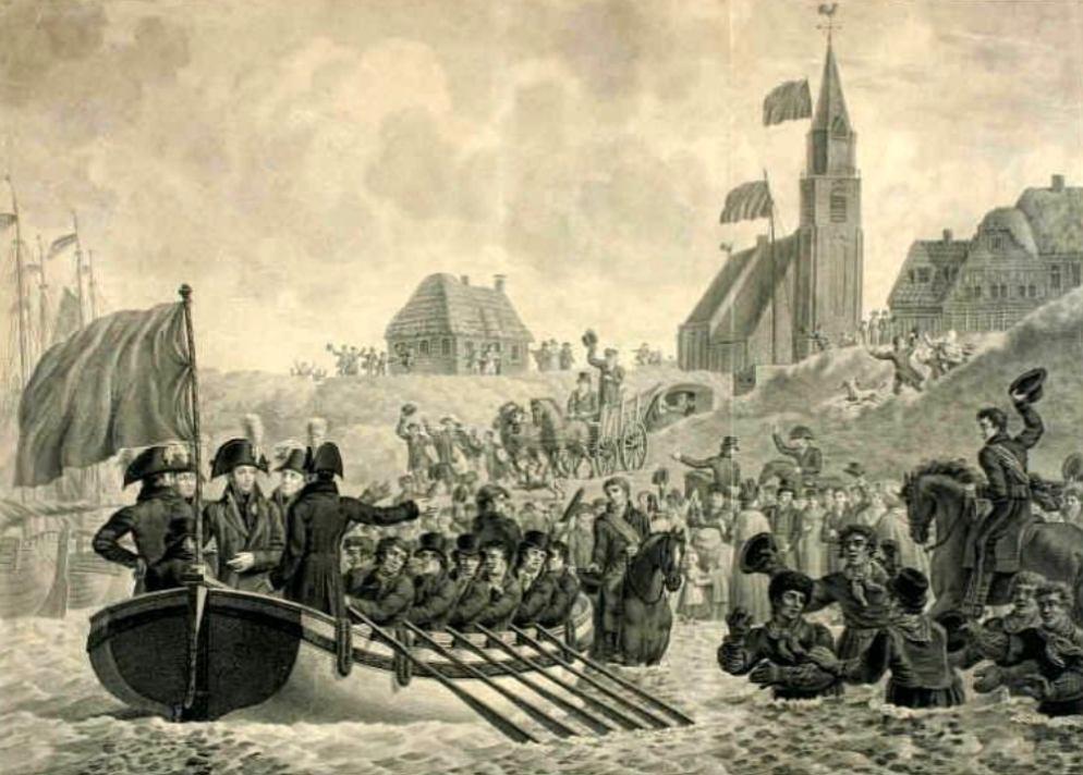 De terugkeer van de erfprins in Nederland op 30 november 1813 in Scheveningen. (foto: Scheveningen 1813-2013)
