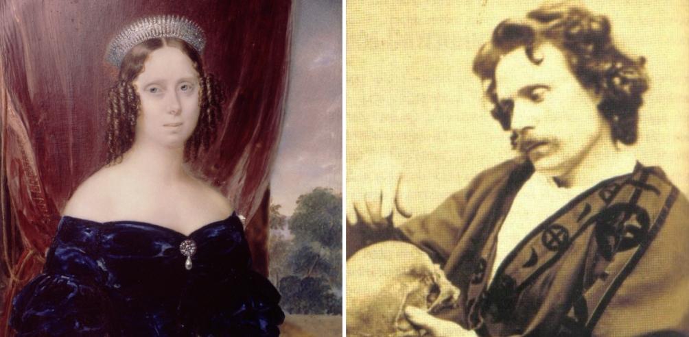 Links: een portret van Sophie van Württemberg, koningin der Nederlanden van 1849 tot 1877, in 1863. Rechts: een portret van het spiritistisch medium Daniel Dunglas Home.