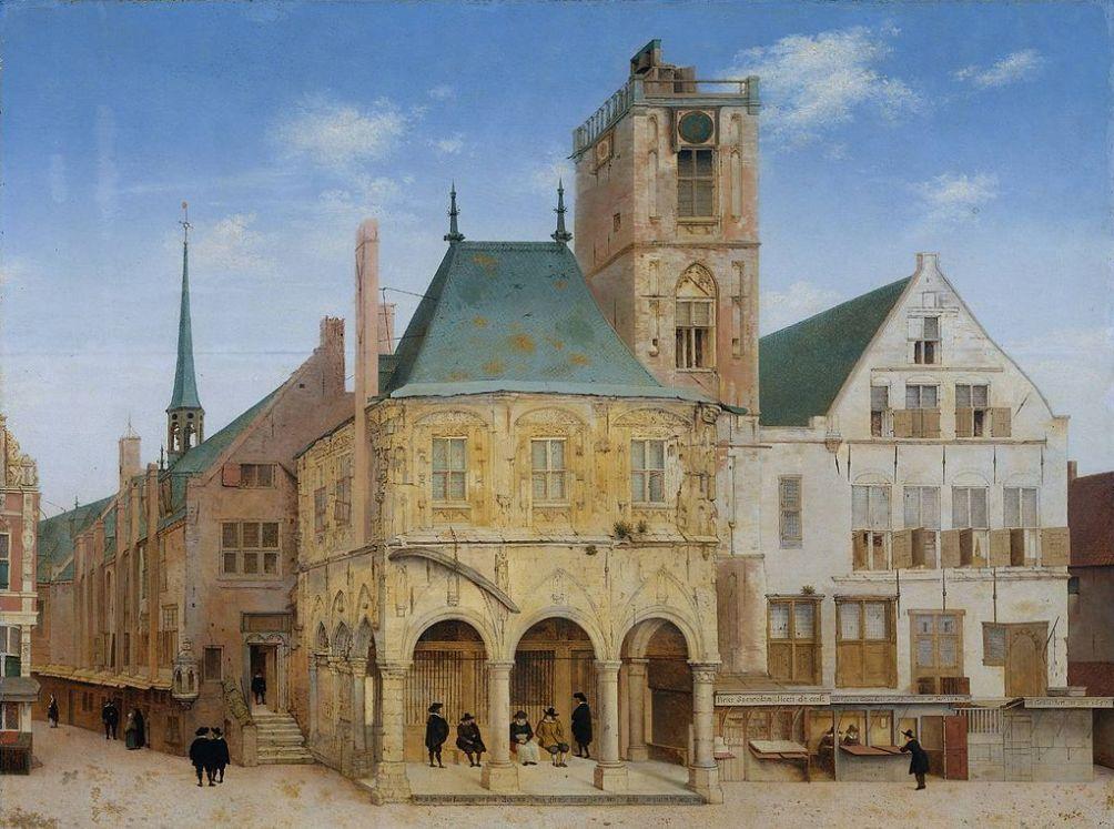 Het oude raadhuis van Amsterdam, waarin in 1609 de Wisselbank gevestigd werd. Pieter Janszoon Saenredam, 1657.