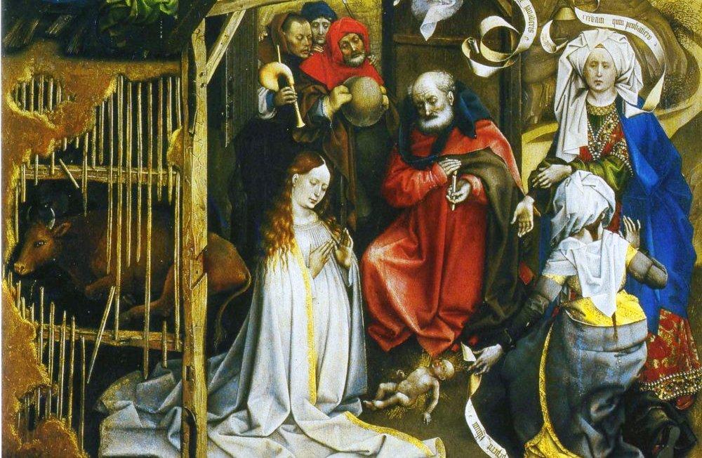 De Aanbidding van Robert Campin (1375- 1444) met twee vroedvrouwen.