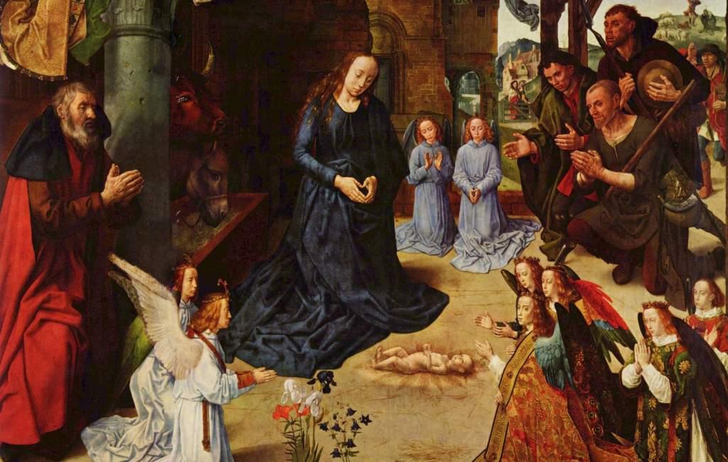 De 'Aanbidding van de Herders' van Hugo van der Goes (1440-1482). Klik op de foto om het hele schilderij te zien, inclusief zijpanelen.
