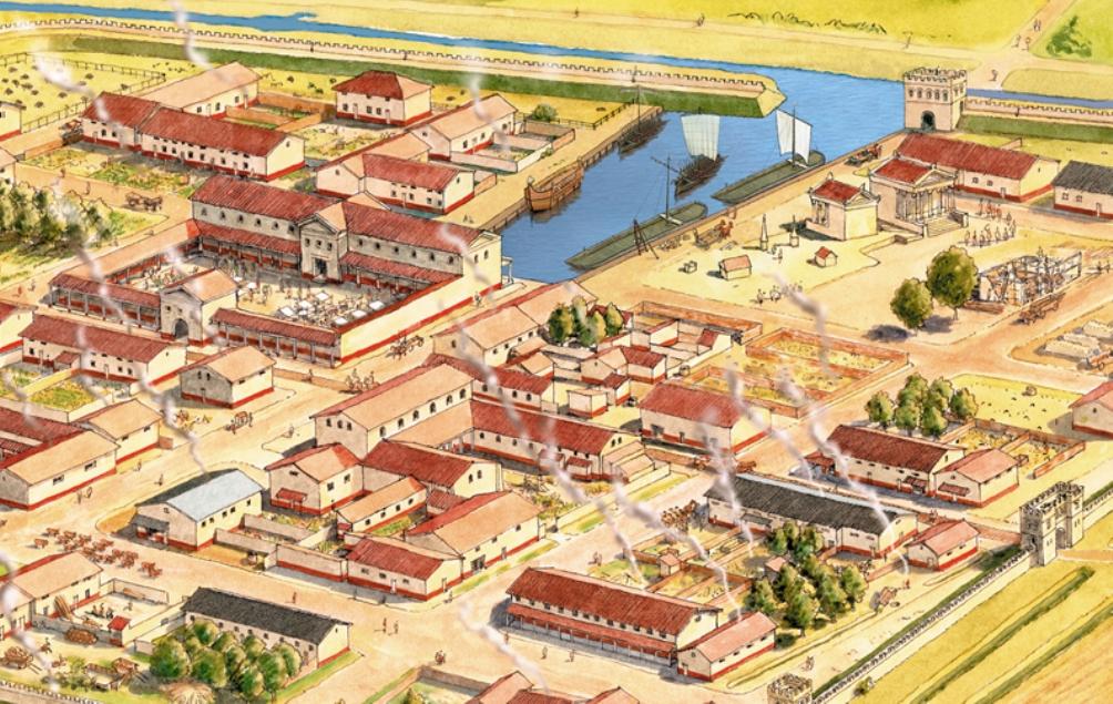 Fragment van een tekening van Forum Hadriani (foto: Bob Brobbel)