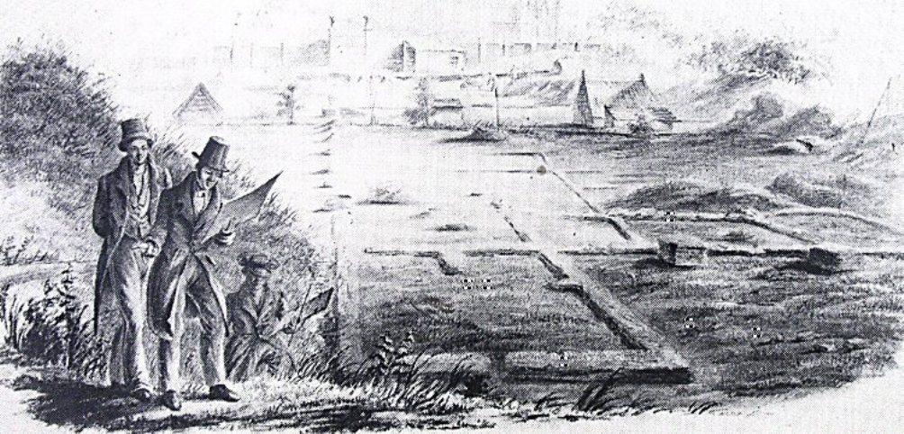 De Leidse archeoloog Caspar Reuvens bij de opgravingen van Forum Hadriani, die tussen 1827 en 1833 werden verricht onder zijn leiding (foto: Livius.org)