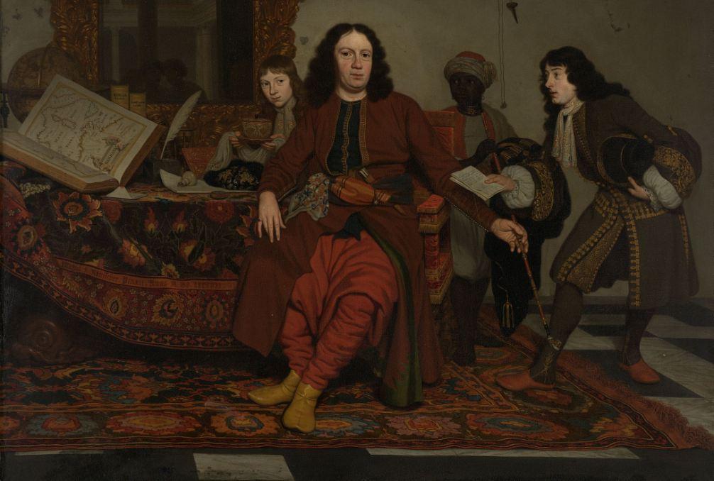 Thomas Hees met zijn neven Jan en Andries Hees en een bediende geschilderd door Michiel van Musscher in 1687. Hees liet zich rokend, in een ontspannen pose portretteren tussen zijn aanwinsten uit Noord-Afrika. Op de achterzijde van het doek staat vermeld wie zijn bediende is: 'Thomas de neger, 17 jaar'.(collectie: Rijksmuseum)