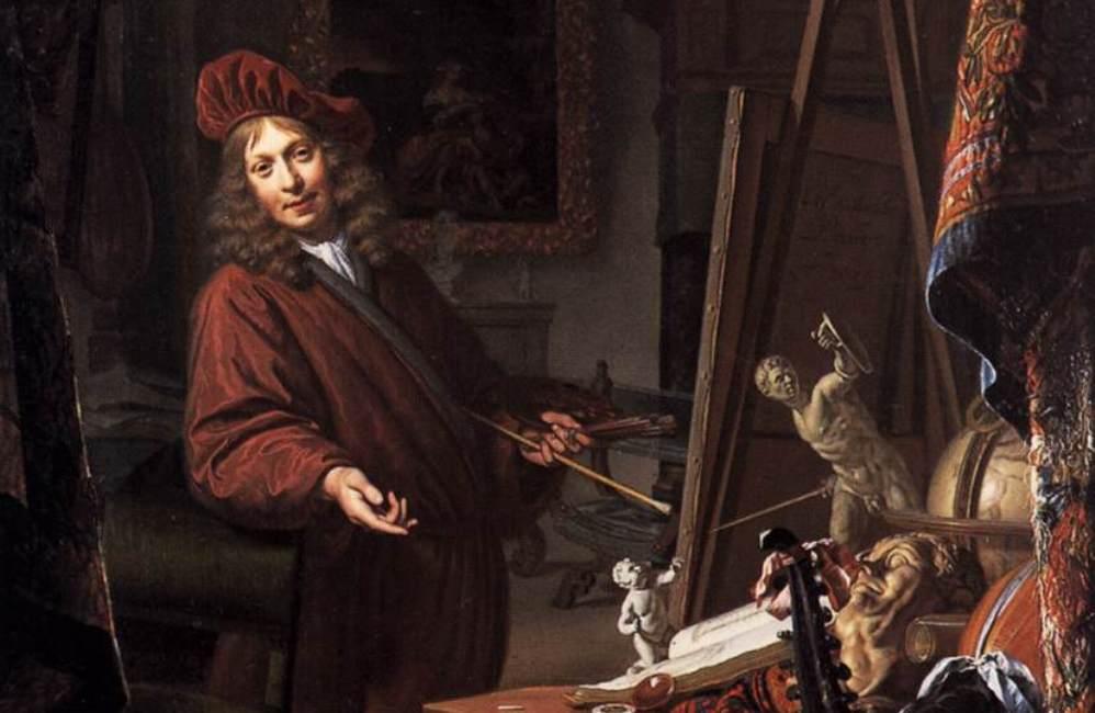 Van Musscher in zijn atelier. Zelfportret, 1685. (foto: Wikimedia)