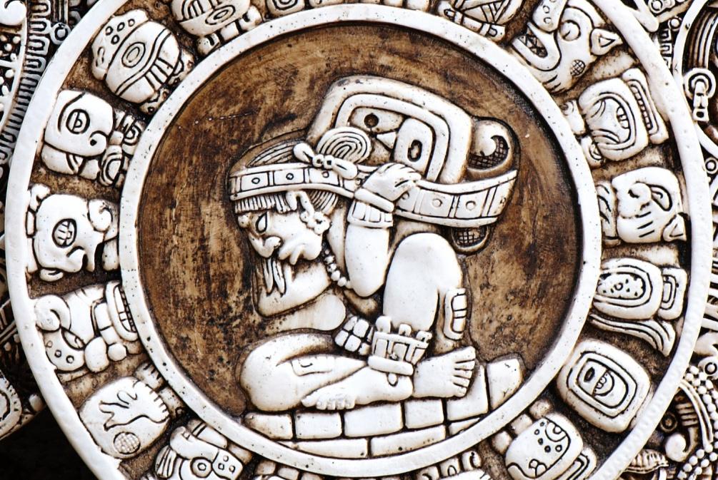 Voorstelling van een Maya kalender. De cirkel beeldt een 'Haab' uit, het ongeschrikkelde Maya-jaar van 365 dagen. (foto: Wikimedia Commons)