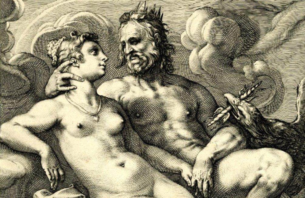 Jupiter en Juno in een liefdevolle pose, gezeten tussen de wolken. Goltzius en zijn leerlingen draaiden hun hand niet om voor een onderwerp uit de klassieke mythologie. (foto: Wikimedia)