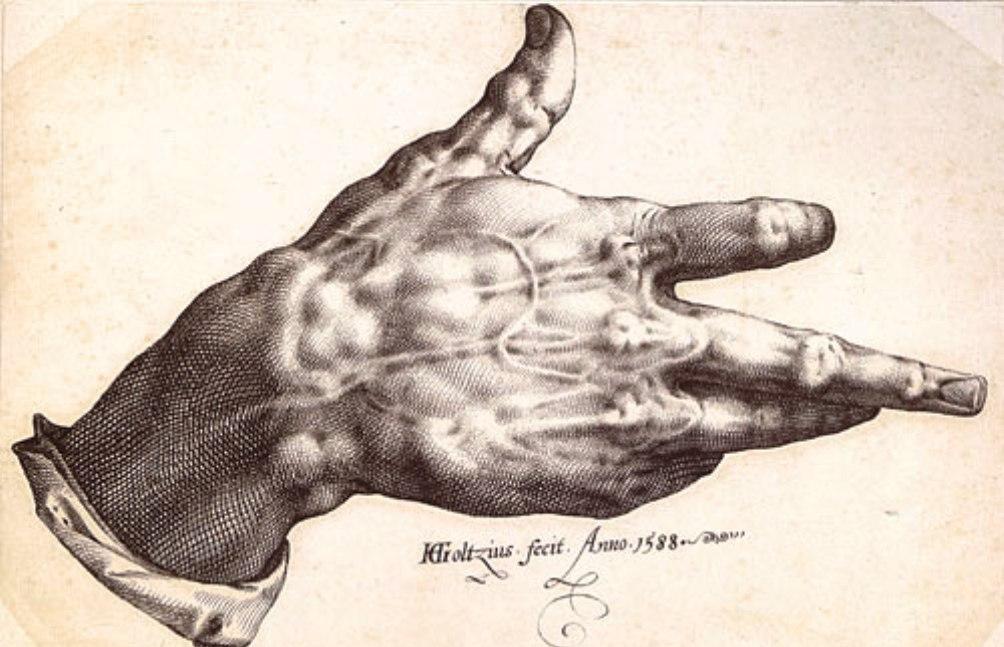 Goltzius' verkrampte hand, door de meester zelf vervaardigd in 1588. De pentekening is in bezit van het Teylers Museum in Haarlem. (foto: Wikimedia)