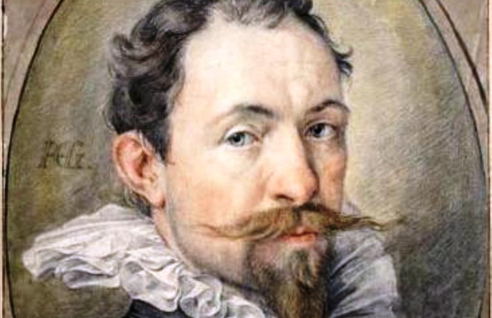 Zelfportret van Hendrick Goltzius, gemaakt tussen 1592 en 1594. De beroemde kunstenaar is dan 34 jaar.