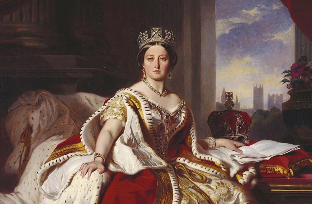 Staatsieprotret van Koningin Victoria en haar kroningsmantel. Schilderij uit 1870.