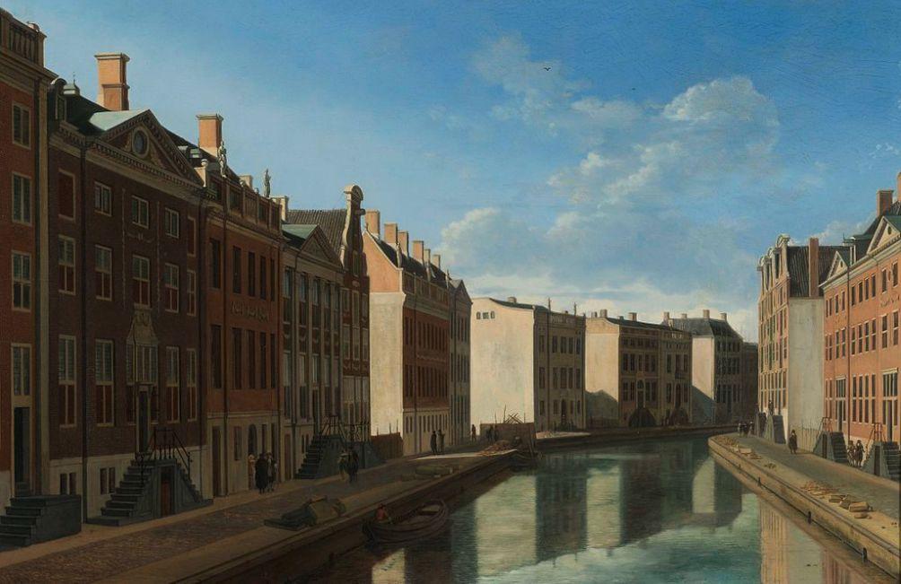 De beroemde bocht in de Herengracht. Op de afbeelding is goed te zien hoe 'sober' de grachtengordel er in eerste instantie uitzag. Ook is duidelijk te zien dat een aantal kavels nog steeds niet is verkocht (foto: Wikimedia)