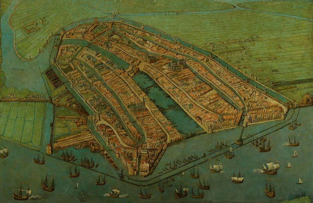 Amsterdam voor de stadsuitbreidingen in 1538. Hierop is het voltooide middeleeuwse Amsterdam, met stadsmuur en poorten, te zien. De Jordaan rechts, bestaat nog geheel uit sloten gerend op de oude grachten tot en met de Singel (foto: Wikimedia)