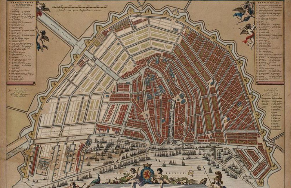 Kaart van Amsterdam door de stadsarchitect Daniel Stalpaert, na aanvang van de Vierde Uitleg, rond 1662. De kaart laat mooi zien hoe de grachten tijdens de uitbreiding werden gelegd. (foto: Wikimedia)