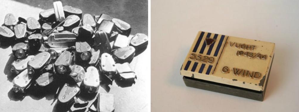 In Kamp Vught werden door het Philips-kommando o.a. radiobuizen en knijpkatten (links) gemaakt. Rechts zie je een doosje dat door gevangene G. Wind is gefabriceerd. (foto's: Collectie NMKV en Philips-kommando.nl)