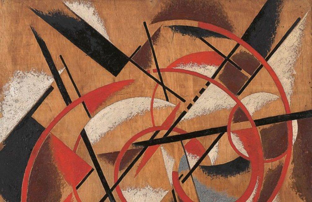 Volgens Malevitsj is elk schilderij een bevroren beeld van een eeuwige beweging door een ideaalruimte van n dimensies, geen omhoog, geen omlaag, geen rechts en geen links. Hierboven zien we de 'Spatial Force Construction' (1920-21) van Ljoebov Popova, een Russische kunstschilderes die vaak tot het suprematisme wordt gerekend (foto: Wikimedia)