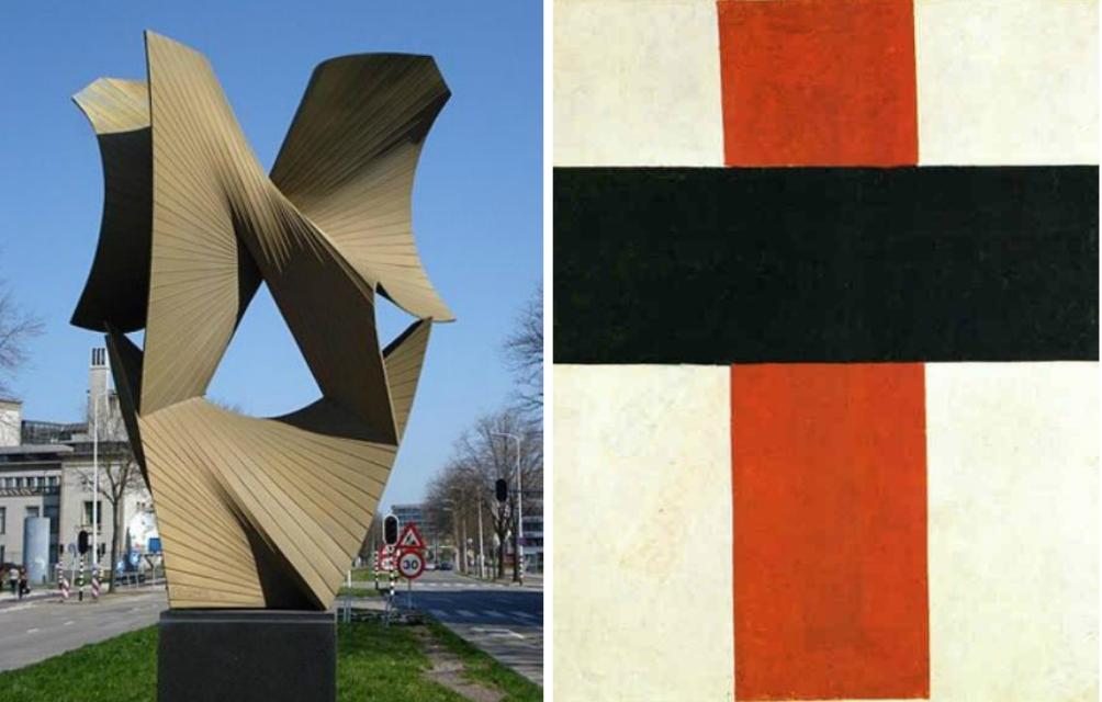 Links een sculptuur van Antoine Pevsner 'Derde en vierde dimensie' en rechts een 'Suprematisch kruis' van Malevitsj, ofwel het constructivisme vs het suprematisme. Waar constructivisten zien dat het gehele leven door de techniek beheerst wordt, geloven de suprematisten dat het gevoel de techniek in het leven roept (foto: Wikimedia)