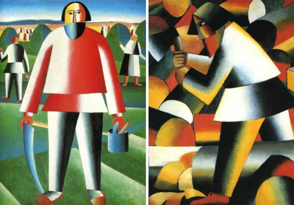 De futuristische boeren van Malevitsj. Links zien we het schilderij van een landwerker die op het punt staat om te gaan hooien. Rechts is het schilderij van een houtbewerker te zien (foto: Wikimedia)