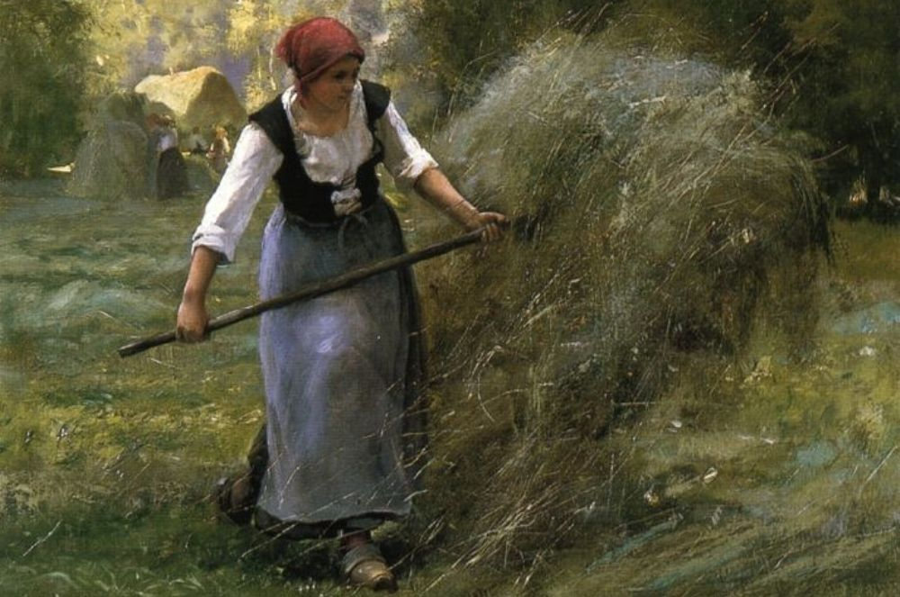 Foto: schilderij van het hooien door Julien Dupré (1851-1910)