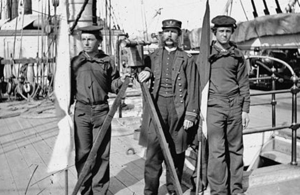 Foto: signaalmannen bij de Amerikaanse marine, ca. 1860-1865